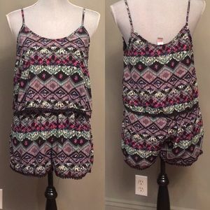 Love Republic Aztec print shorts romper